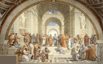لوحة فنية تظهر مختلف المدارس الفلسفية