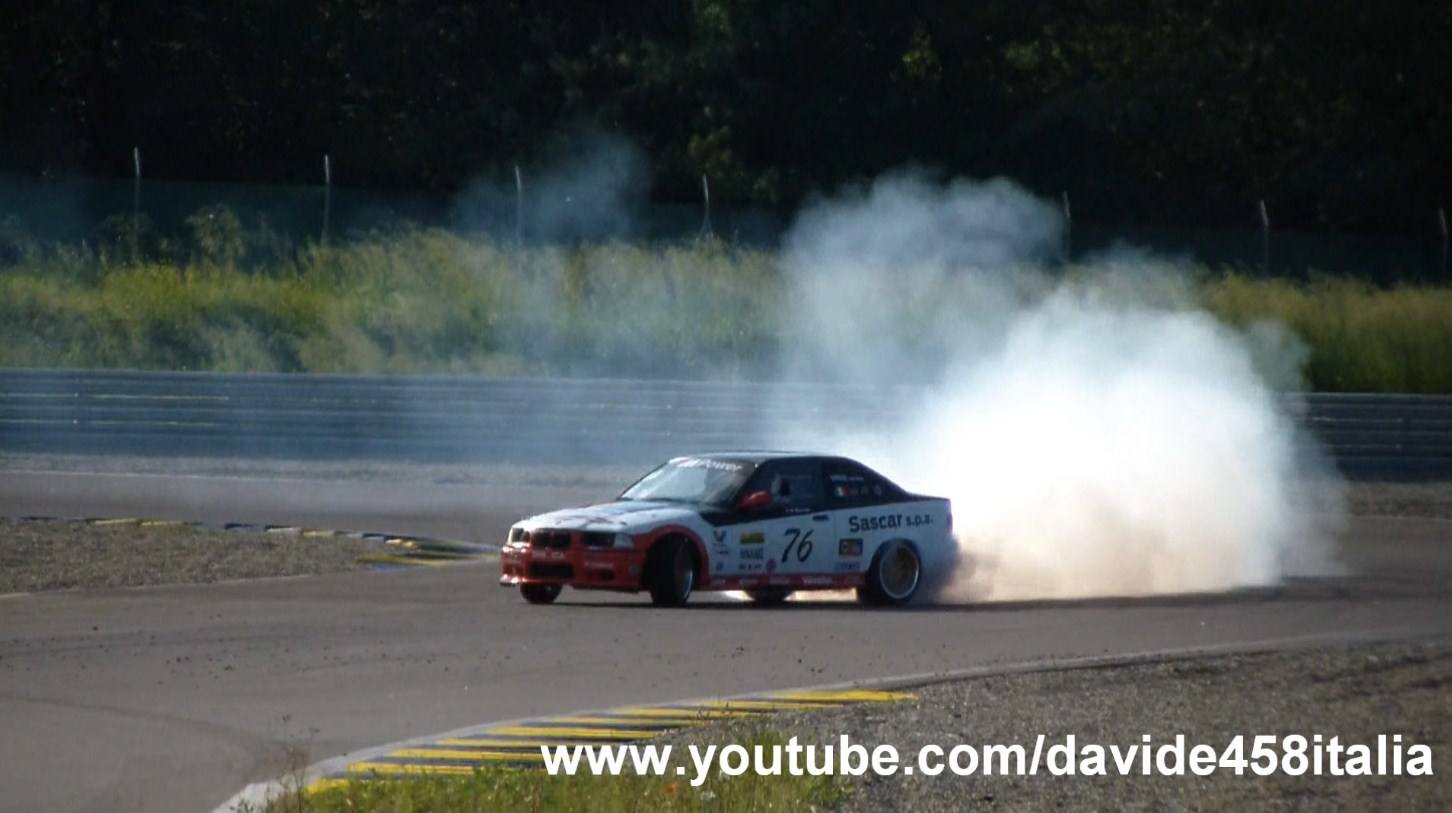 medium resolution of you can see a white bmw m3 e36 start up and fly by on the track then a green e36 and a white e36 doing some drifting
