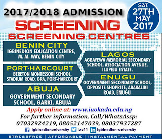 Igbinedion University Admission Screening Form is Out – 2017/18 [Post UTME]