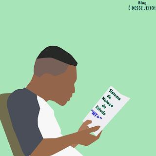 """Imagens de uma pessoa estudando com interesse, anunciando o início do Sistema de Notas+ de Estudo """"NT+"""""""