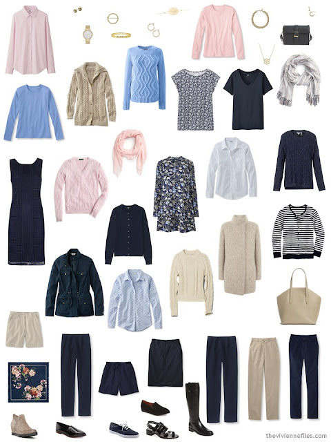 Starting From Scratch capsule wardrobe in navy, beige, pink and blue