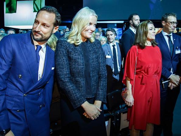 Princess Mette Marit wore PRADA wool jacket, Prada clutch satin bag, Prada suede pumps