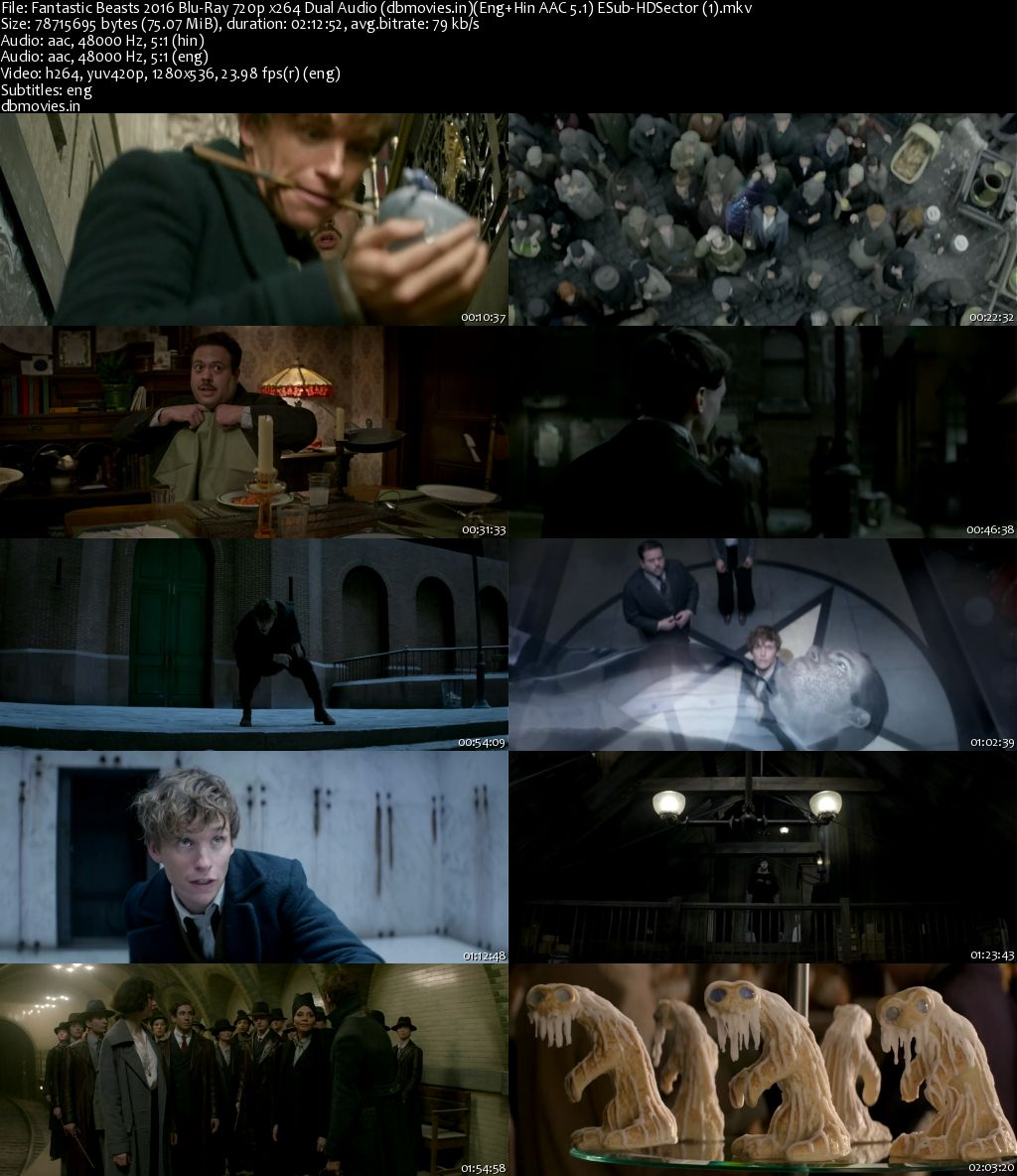 Fantastic Beasts and Where to Find Them 2016 Full Movie Dual Audio Hindi Download 720p