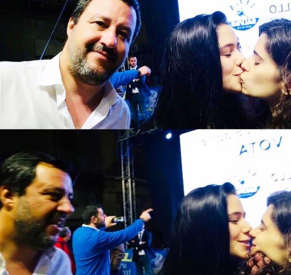 """Vajzat socialiste bëjnë """"Selfie"""" me ekstremistin e djathtë Mateo Salvini duke u puthur"""