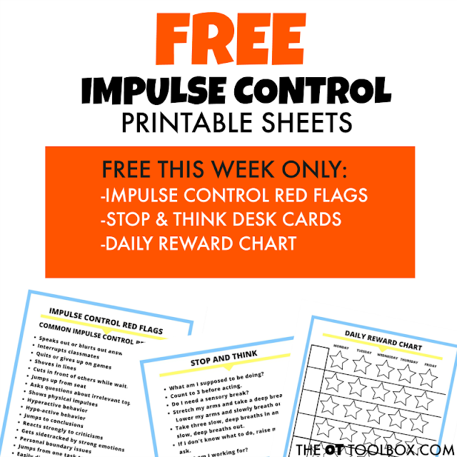 Free impulse control printable sheets for kids who struggle with impulses.