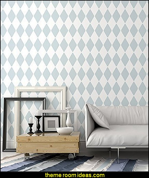 Harlequin Wall Stencil  Harlequin decor - diamond design  - Harlequin pattern decorating - diamond pattern decor - harlequin stencils - Geometric wall stencils - Harlequin Furniture Stencil  -  Harlequin wallpaper -