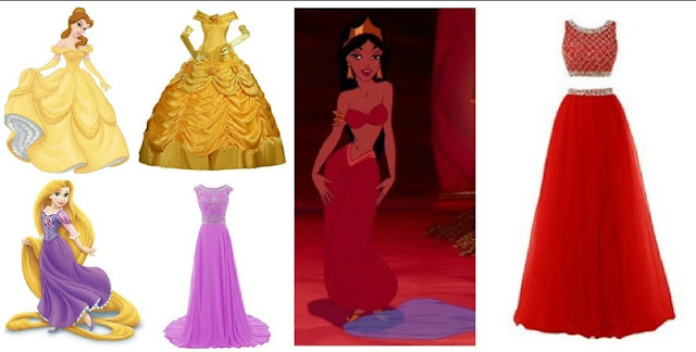 6 Disney Inspired dresses to wear to prom tangled rapunzel belle princess jasmine aladdin merida tiana