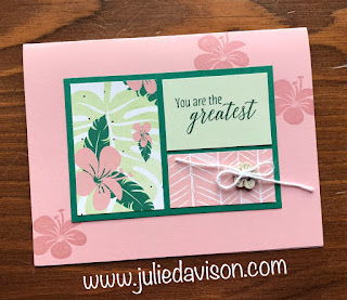 Stampin' Up! 1 Layout, 5 Cards ~ Weekend Card Challenge ~ Card Layout ~ 2018-2019 Annual Catalog ~ Tropical Chic, Tropical Escape Designer Paper ~ www.juliedavison.com