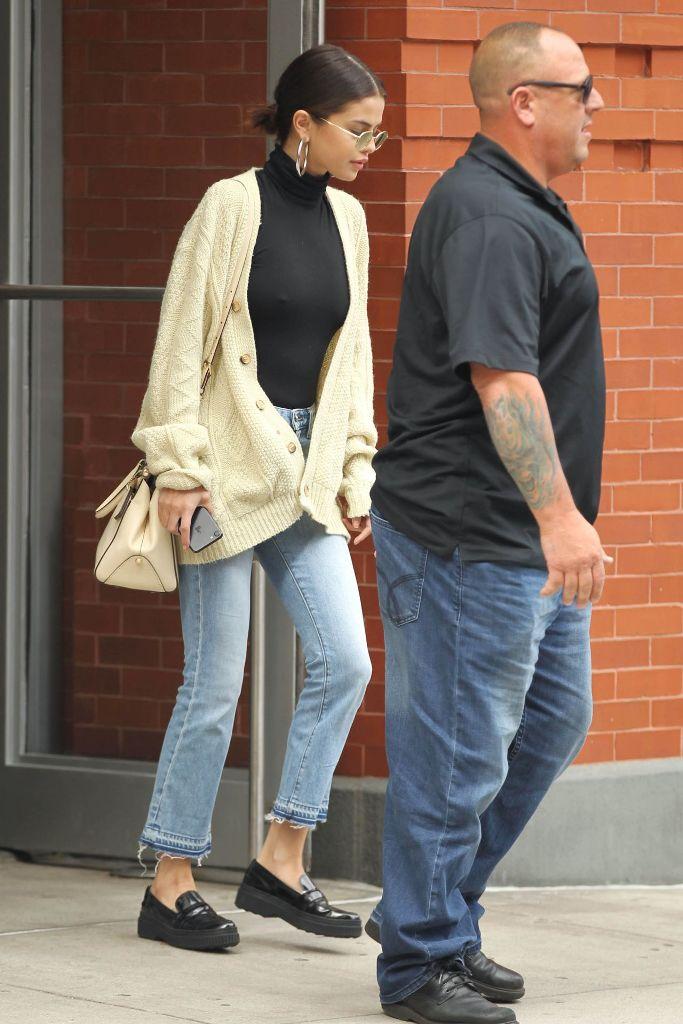 Selena Gomez in a Black Top in New York