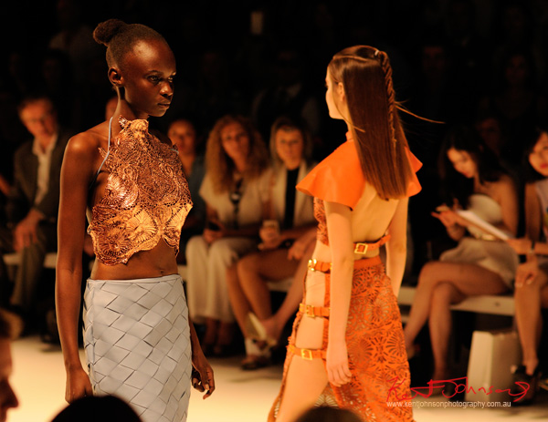 Gold moulded bustier, woven leather skirt, laser cut leather top and skirt; ANY STEP by Amy Le and Stephanie McGuigan - MBFWA - Photographed by Kent Johnson.