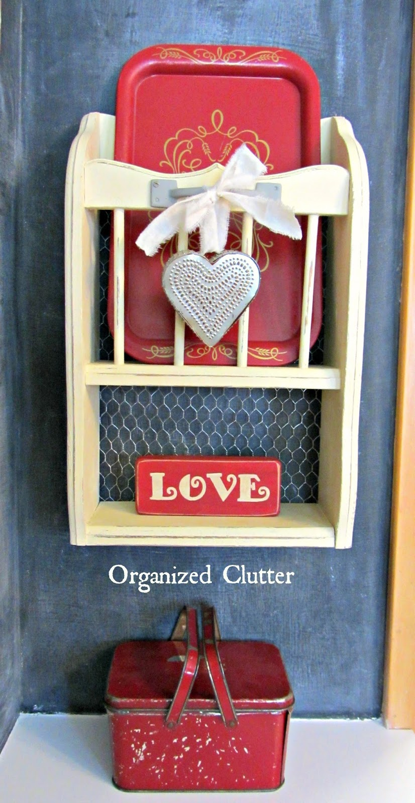 Salvaged Shelf Valentine's Day Decor www.organizedclutterqueen.blogspot.com