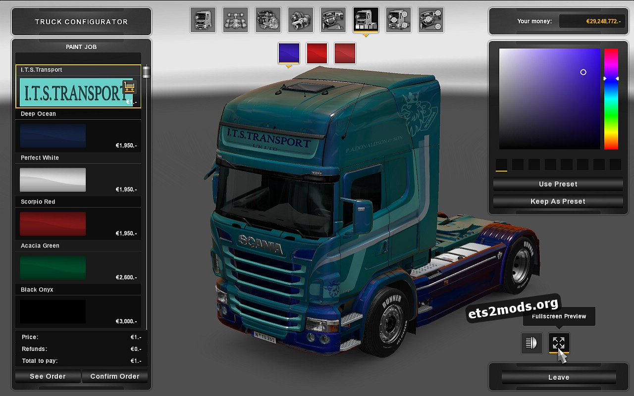 I.T.S.Transport Skin for Scania RJL