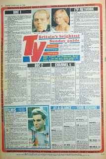 Back cover page showing TV guide of the Sunday Sport from 10th April 88
