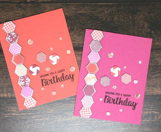 Sunny Studio Stamps: Quilted Hexagons cards by Ashlyn D