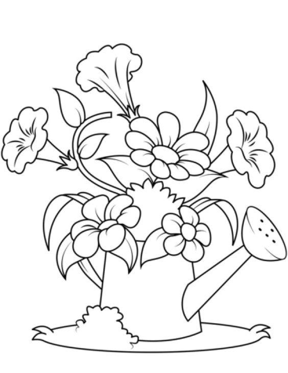 Tranh tô màu hoa cắm trong bình tưới cây