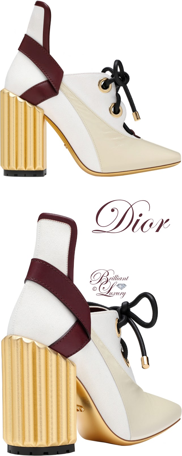 Brilliant Luxury ♦ Dior Crinkled Lambskin Leather & Canvas Pump