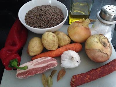 Lentejas con chorizo, ingredientes
