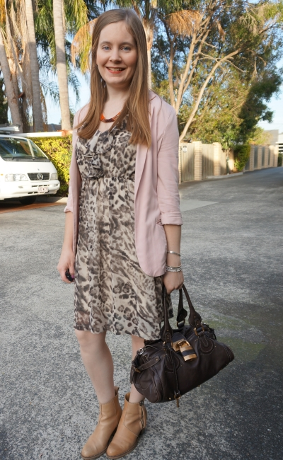 blush pink blazer, ankle boots, animal print ruffle dress and Chloe paddington brun chocolate brown bag | Away From Blue