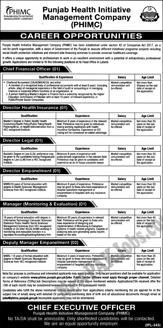 PHIMC  Punjab Health Initiative Management Company Latest Jobs Jan 2018