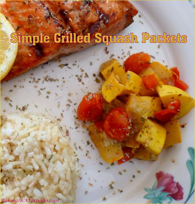 Only 4 ingredients go into these Simple Grilled Squash Packets. Chop, mix and grill for a simple flavorful side dish. | Recipe developed by www.BakingInATornado.com | #recipe #vegetables