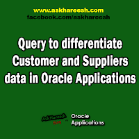 Query to differentiate Customer and Suppliers data in Oracle Applications, www.askhareesh.com