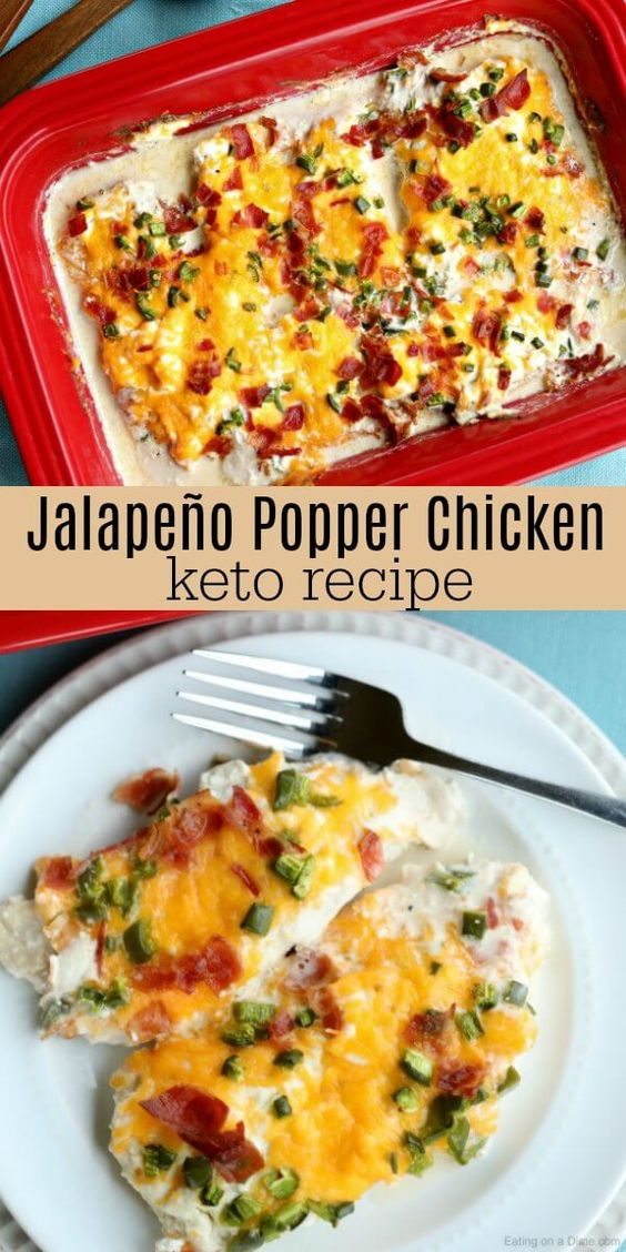 Keto Jalapeño Popper Chicken Recipe is packed with so much amazing flavor. This chicken is layered with cream cheese, bacon and jalapeno's for a meal sure to impress.