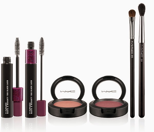 MAC A Novel Romance Fall 2014 Haute & Naughty Too Black Lash Mascara, Powder Blush, Fluff Brush, and 224 Tapered Blending Brush