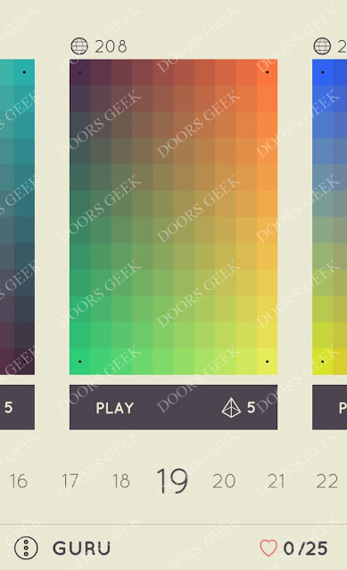 I Love Hue Guru Level 19 Solution, Cheats, Walkthrough