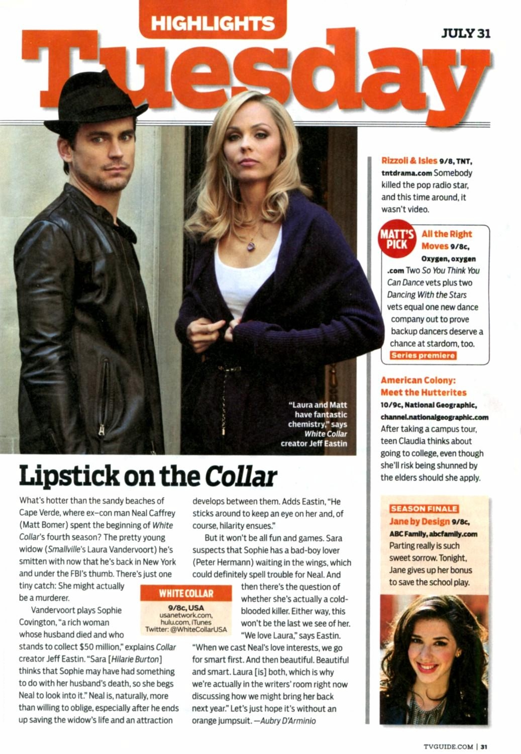 Vandervoort Article On White Collar In Tv Guide - Www imagez co