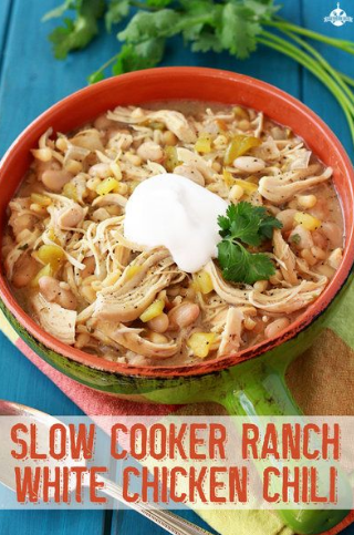 Slow Cooker Ranch White Chicken Chili