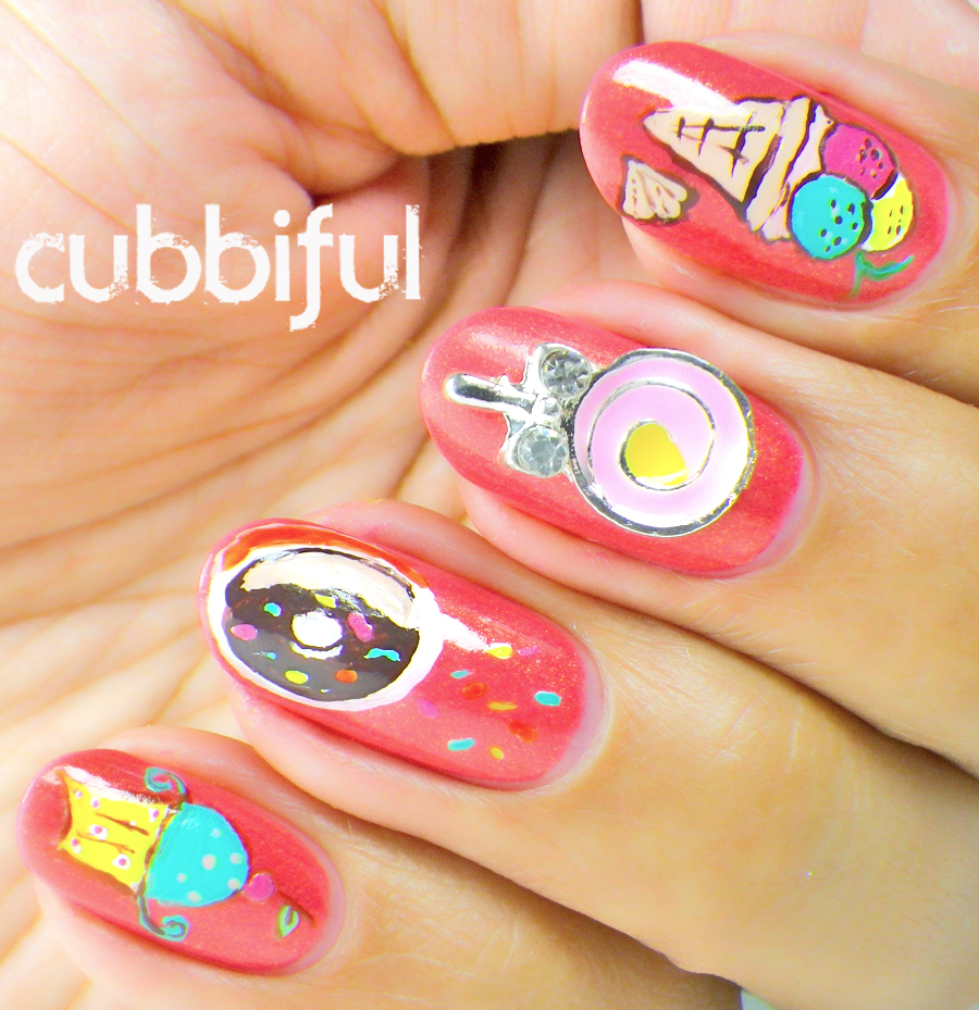 lollipop and cupcake nails