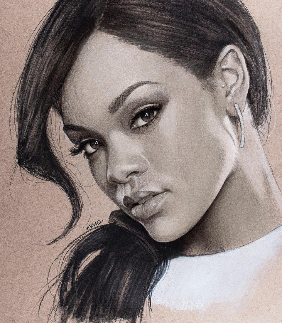 02-Rihanna-Justin-Maas-Pastel-Charcoal-and-Graphite-Celebrity-Portraits-www-designstack-co