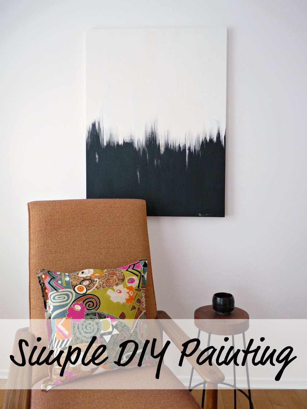 Simple but striking black white diy abstract painting Simple wall art