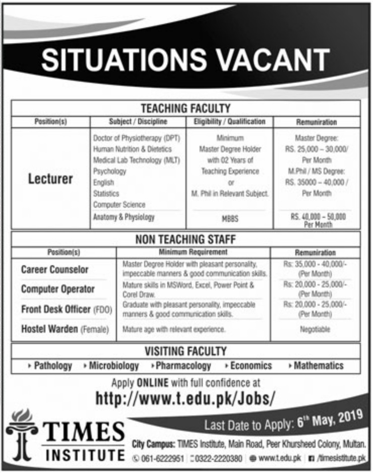 TIMES Institute Multan Jobs 2019 For Lecturer and others