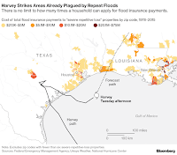 """Cost of total flood insurance payments to """"severe repetative loss"""" properties (Credit: Bloomberg) Click to Enlarge."""