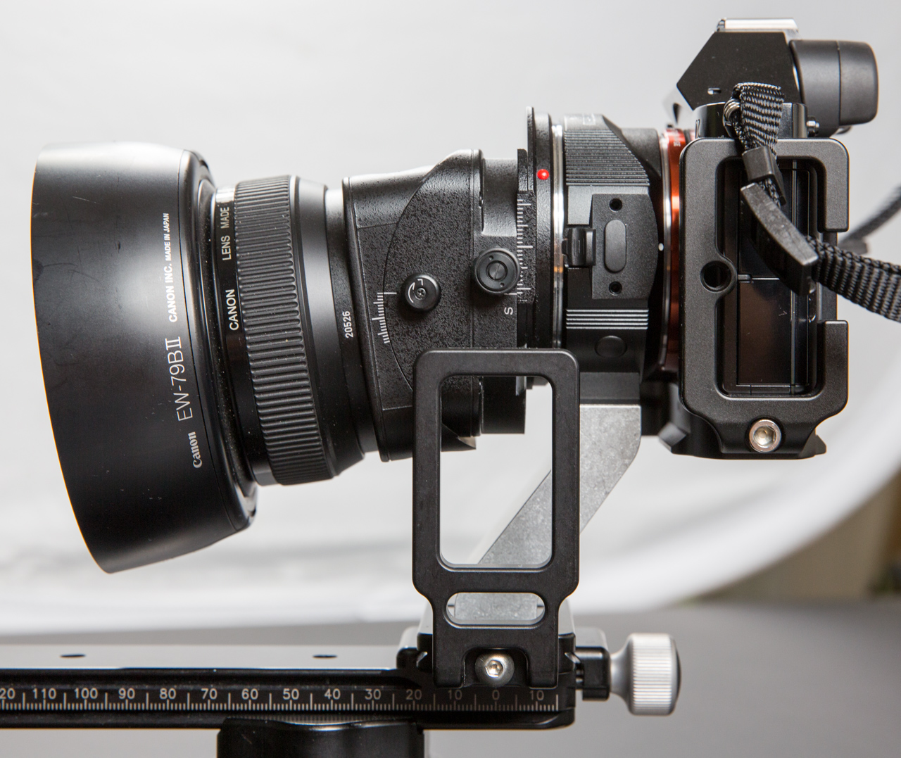 Canon TS-E lens on SONY a7 via Metabones adapter and Hajnar Foot Assembly prototype.