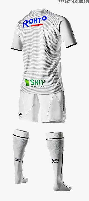 e71a0ebd7a5 The Gamba Osaka 2019 away shirt boasts the same pinstripe logo pattern.  It s white with black accents.