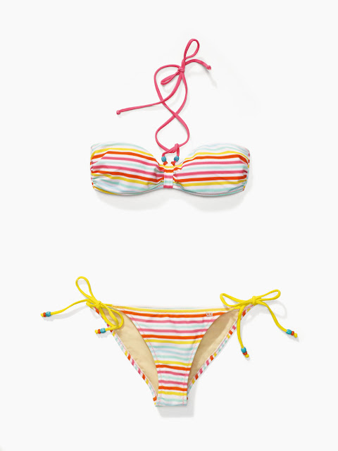 Striped Bikini yellow coral orange turquoise Tommy Hilfiger Surf Shack