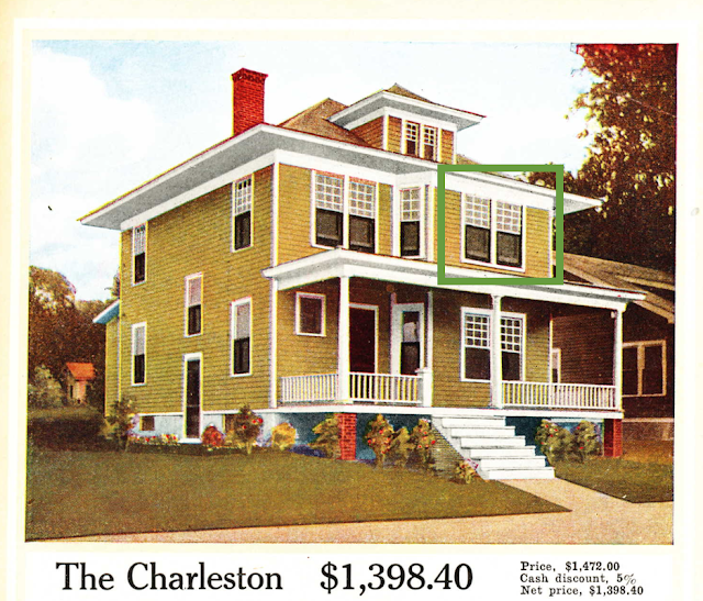 large close up of yellow two-story house: Aladdin Charleston, 1916 Aladdin catalog