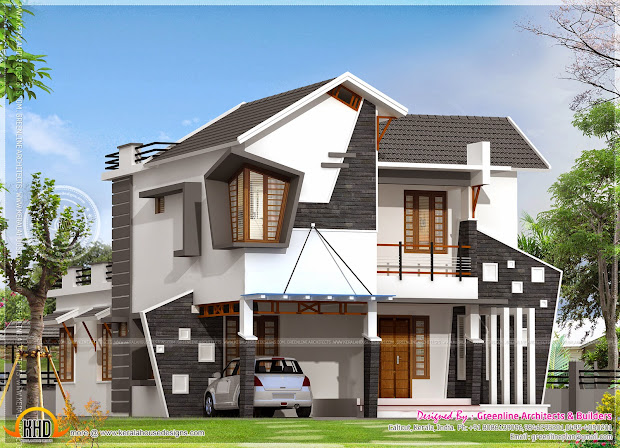 Unique House Exterior In 2154 Square Feet - Kerala Home