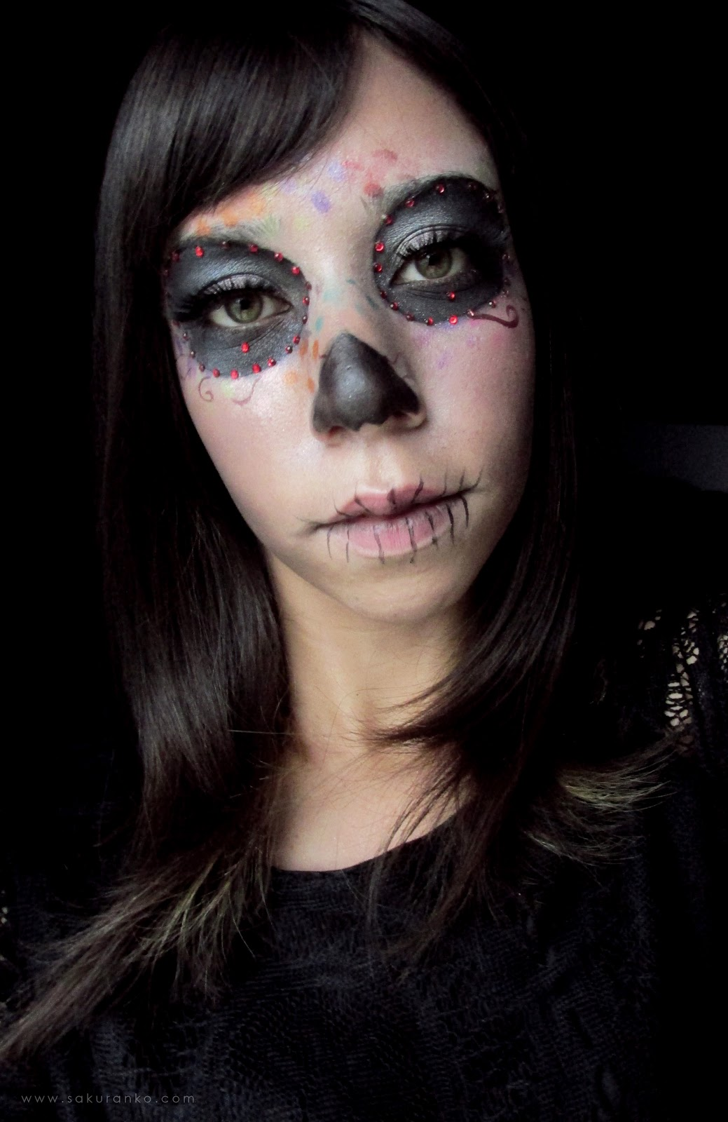 Sakuranko: Skull Color Simple Halloween Makeup