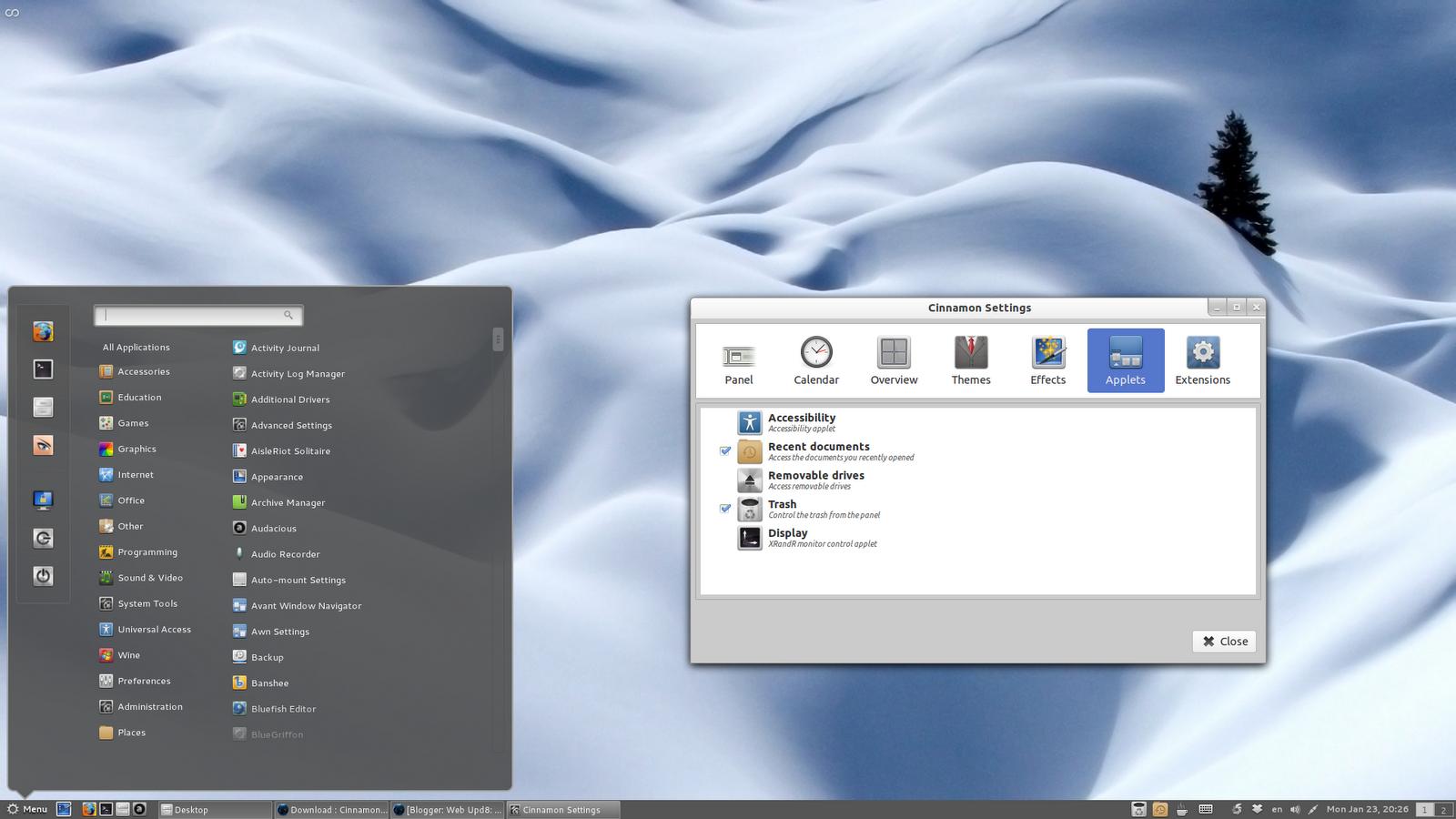 Cinnamon 1 2 Released With Desktop Effects, Multiple Layouts
