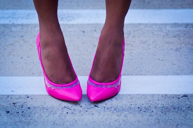 Pink shoes Royal blue dress