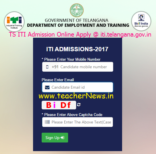 TS ITI Admission Online Apply @ iti.telangana.gov.in - Telangana ITI Application Form