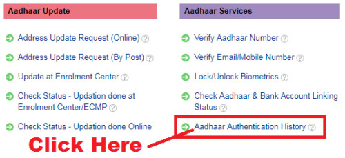 how to check aadhaar authentication history online