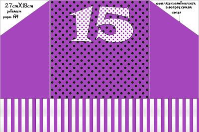 15 Anos Roxo E Prata Kit Completo Com Molduras Para Convites