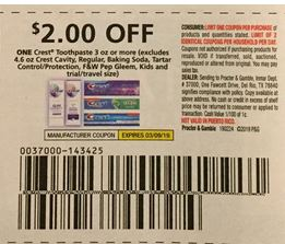 $2.00/1 Crest Toothpaste coupon