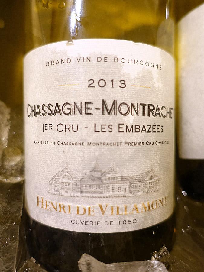 Henri de Villamont Chassagne Montrachet 1er Cru Les Embazees 2013 (92 pts)