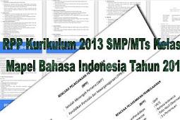 RPP Kurikulum 2013 SMP/MTs Kelas 7 Mapel Bahasa Indonesia Tahun 2018