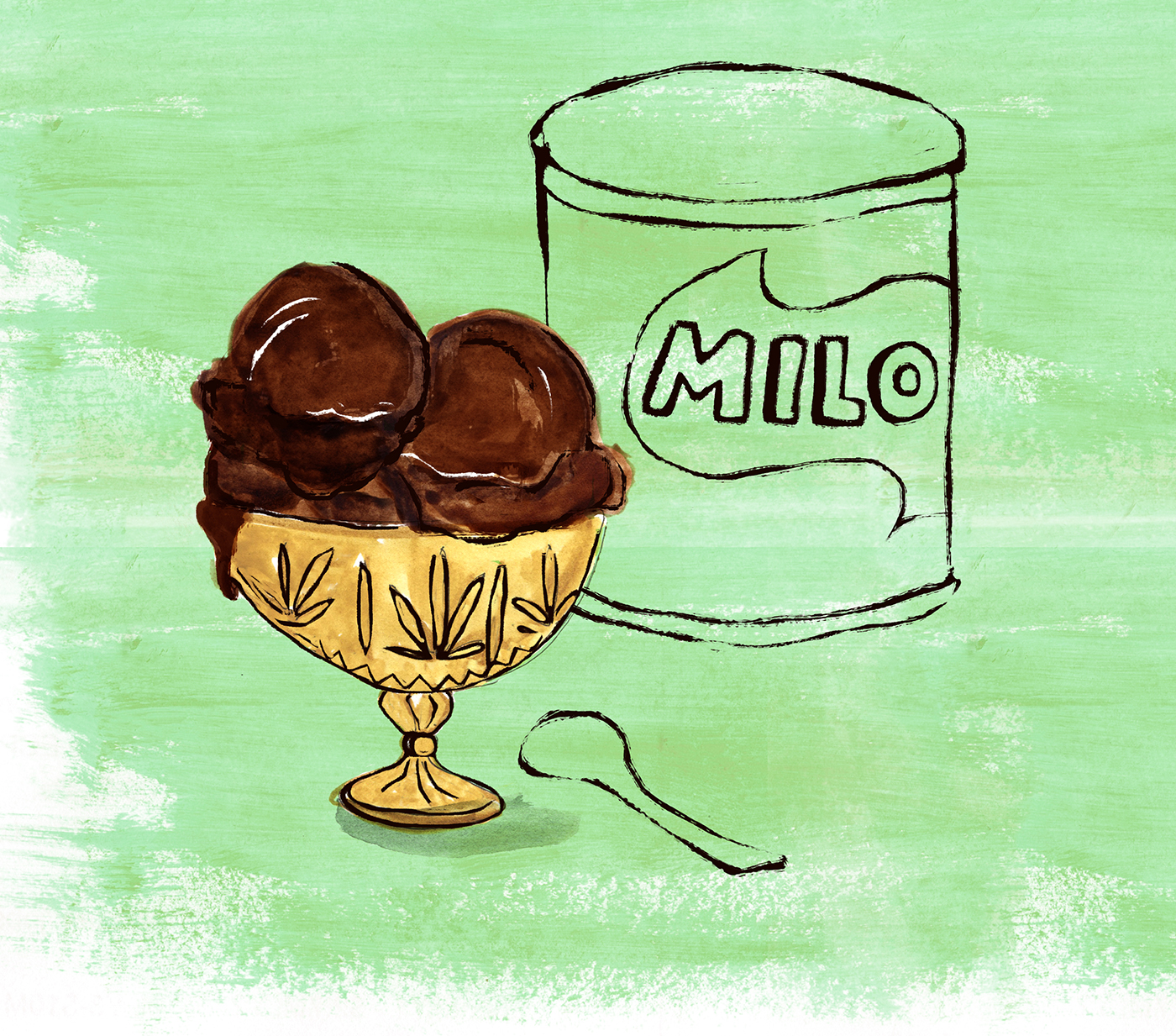 Milo Ice Cream, Chocolate, Lauren Monaco Illustration